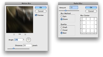 Motion blur filter in traditional software